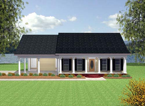 Colonial House Plan 64529 with 2 Beds, 2 Baths, 2 Car Garage Elevation
