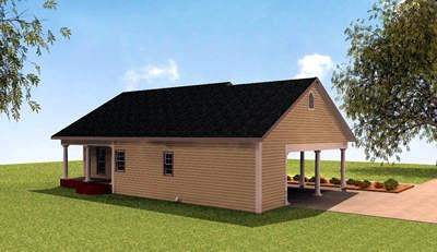 Colonial House Plan 64529 with 2 Beds, 2 Baths, 2 Car Garage Rear Elevation