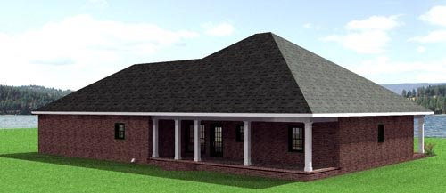 European, One-Story House Plan 64541 with 3 Beds, 2 Baths, 2 Car Garage Rear Elevation