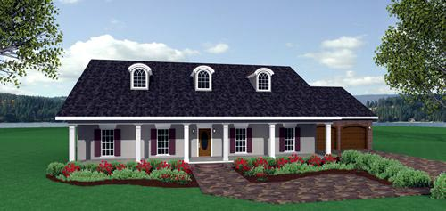 Country, One-Story House Plan 64543 with 3 Beds, 2 Baths, 2 Car Garage Elevation