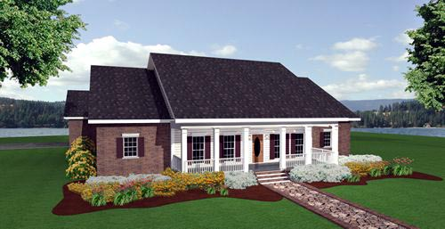 Colonial Country House Plan 64544 Elevation