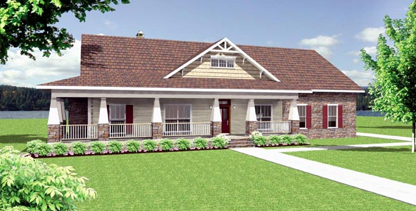 Country Craftsman Traditional House Plan 64565 Elevation
