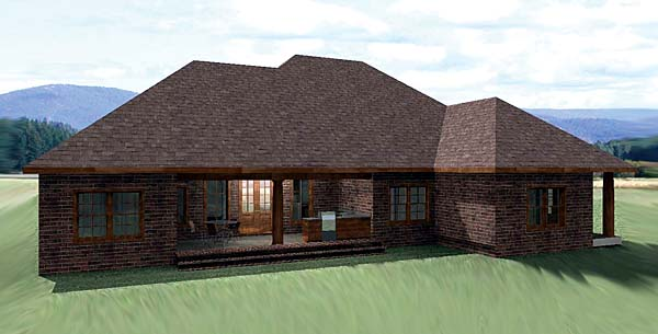 European Traditional House Plan 64570 Rear Elevation