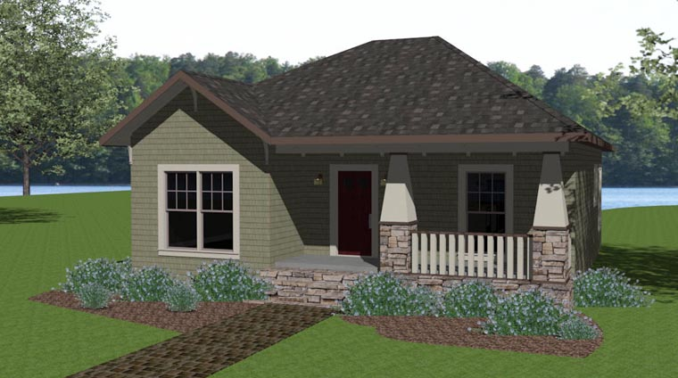 Craftsman Style House Plan 64576 with 2 Bed, 2 Bath