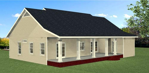 Country Southern Traditional House Plan 64587 Rear Elevation