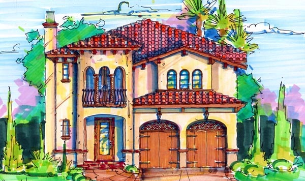 Florida, Mediterranean, Narrow Lot House Plan 64618 with 3 Beds, 4 Baths, 2 Car Garage Elevation