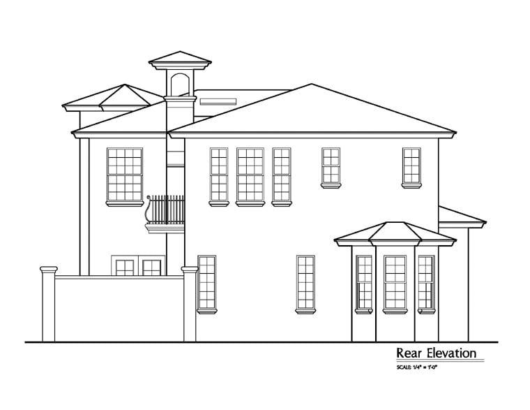 Florida Mediterranean House Plan 64624 Rear Elevation