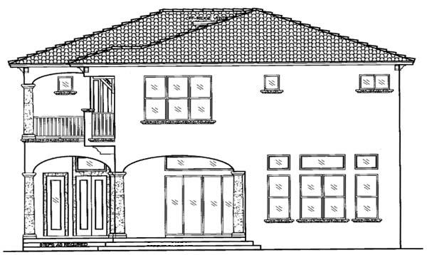 Italian House Plan 64640 with 4 Beds, 5 Baths, 3 Car Garage Rear Elevation