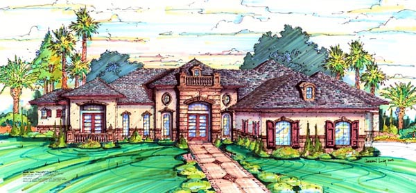Elevation of Florida   Mediterranean   House Plan 64669