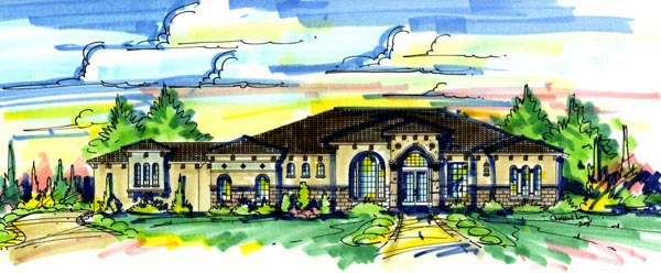 Elevation of Florida   Mediterranean   House Plan 64675