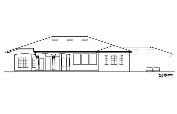 Rear Elevation of Florida   Mediterranean   House Plan 64675