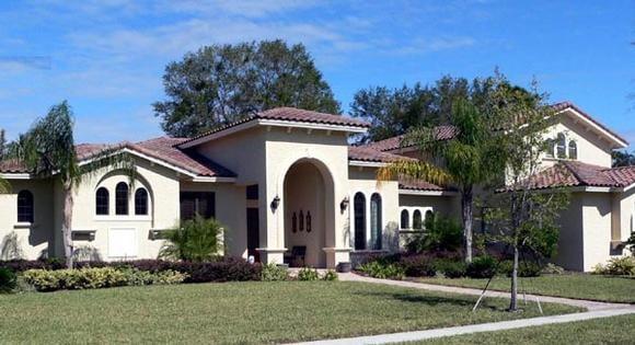 Florida, Mediterranean House Plan 64676 with 4 Beds, 5 Baths, 3 Car Garage Elevation