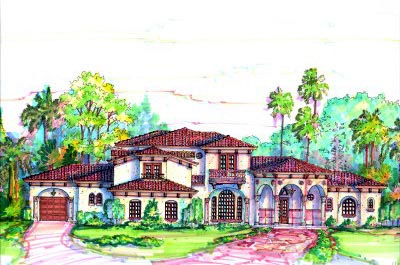 Elevation of Florida   Mediterranean   House Plan 64706