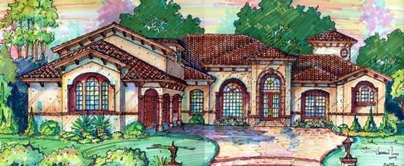 Florida, Mediterranean House Plan 64725 with 5 Beds, 6 Baths, 4 Car Garage Elevation
