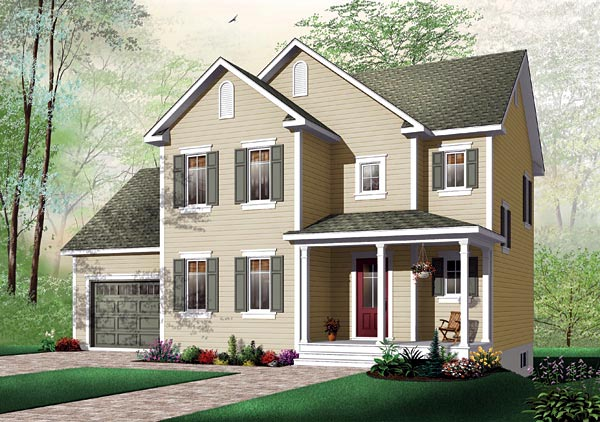 Traditional House Plan 64804 with 3 Beds, 2 Baths, 1 Car Garage Elevation