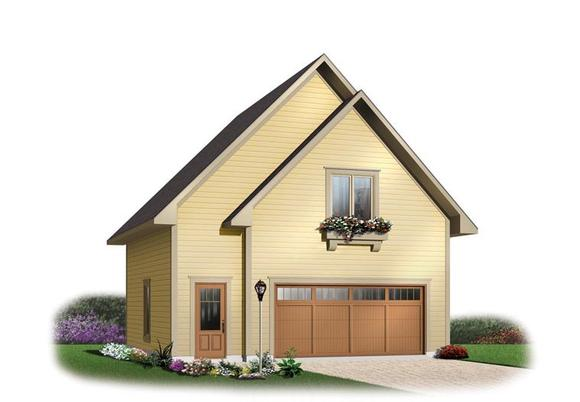 2 Car Garage Apartment Plan 64816 with 1 Beds, 1 Baths Elevation