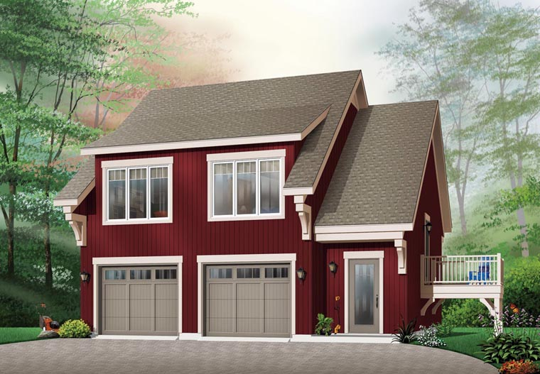 Craftsman 2 Car Garage Apartment Plan 64817 with 2 Beds, 1 Baths Elevation