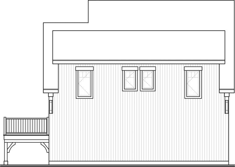 Craftsman 2 Car Garage Apartment Plan 64817 with 2 Beds, 1 Baths Rear Elevation