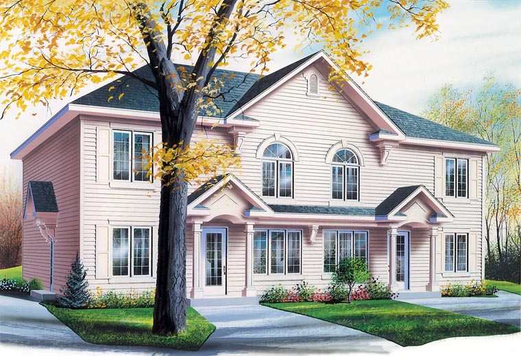 Colonial Multi-Family Plan 64825 Elevation