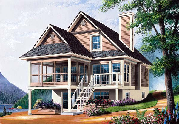 Cottage, Traditional House Plan 64828 with 3 Beds, 2 Baths Elevation