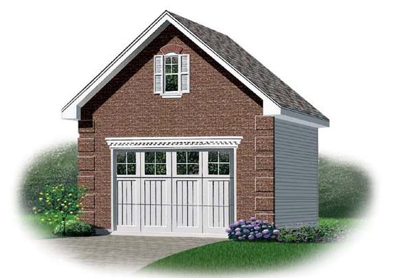 1 Car Garage Plan 64830 Elevation