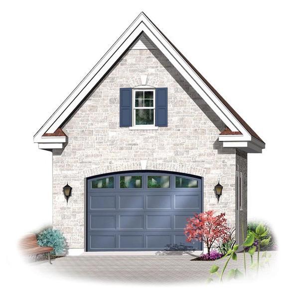 1 Car Garage Plan 64835 Elevation