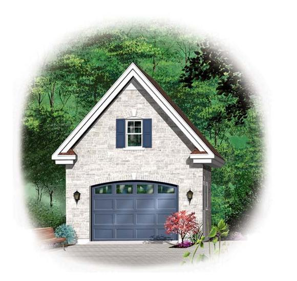 1 Car Garage Plan 64836 Elevation