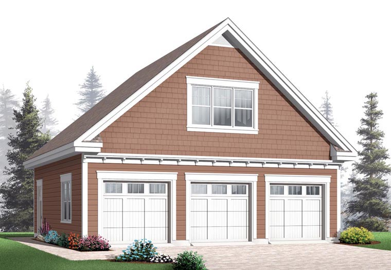 Craftsman Style 3 Car Garage Plan Number 64843
