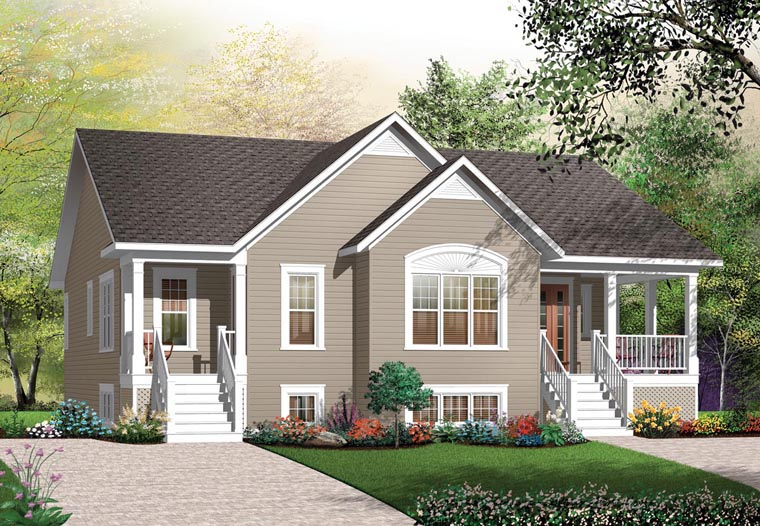 Bungalow Multi Family Plan 64882 Elevation