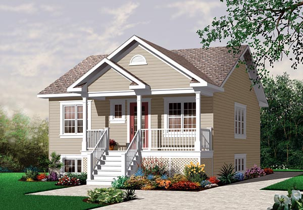 Bungalow, Country, Narrow Lot, One-Story House Plan 64887 with 2 Beds, 1 Baths Elevation