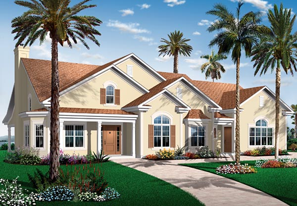 Florida Mediterranean House Plan 64893 Elevation
