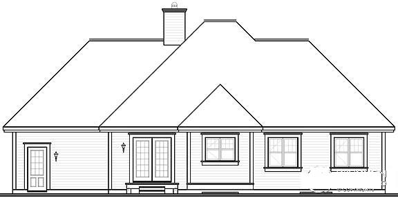 Bungalow Country House Plan 64895 Rear Elevation