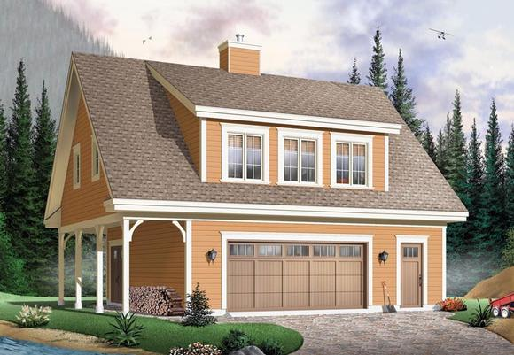 Country, Craftsman, Traditional 2 Car Garage Apartment Plan 64902 with 2 Beds, 2 Baths Elevation