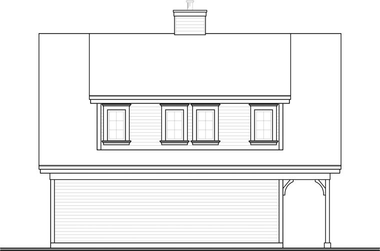 Country Craftsman Traditional Rear Elevation of Plan 64902