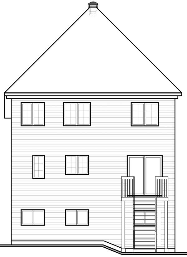 House Plan 64947 Rear Elevation