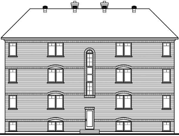 Victorian Multi-Family Plan 64952 Rear Elevation