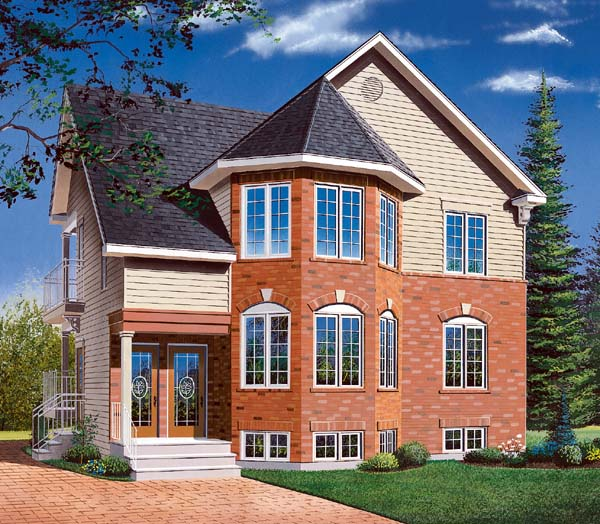 Traditional Multi-Family Plan 64970 Elevation