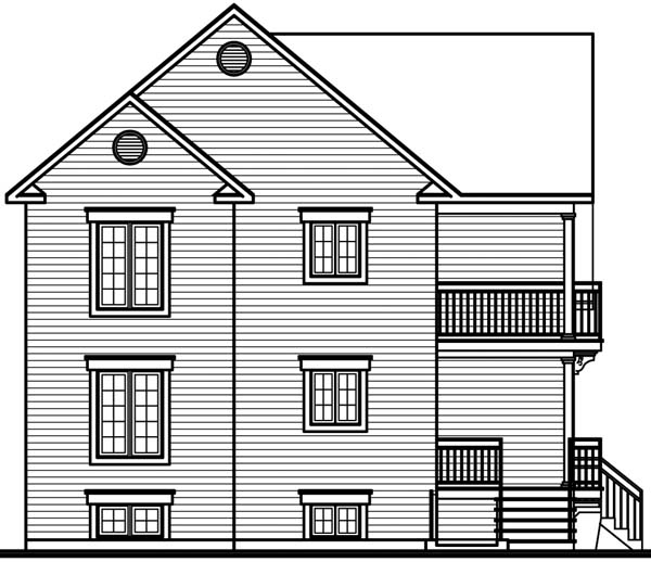 Traditional Multi-Family Plan 64970 Rear Elevation