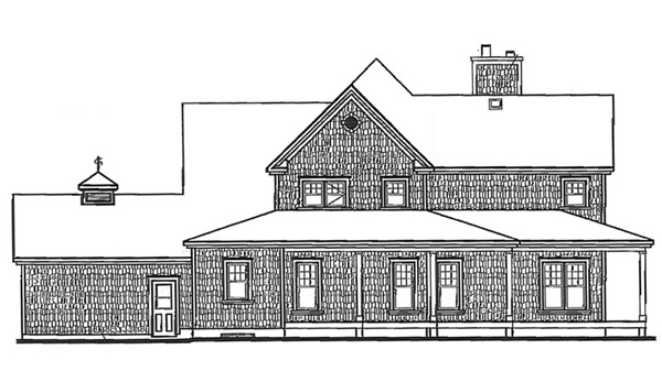 Country, Farmhouse House Plan 64980 with 4 Beds, 4 Baths, 3 Car Garage Rear Elevation