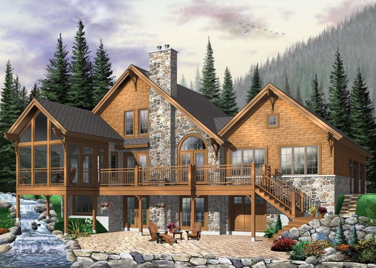 Coastal, Country, Craftsman House Plan 64981 with 5 Beds, 4 Baths, 2 Car Garage Rear Elevation