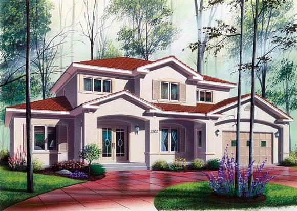 Florida House Plan 64984 with 6 Beds, 5 Baths, 2 Car Garage Elevation