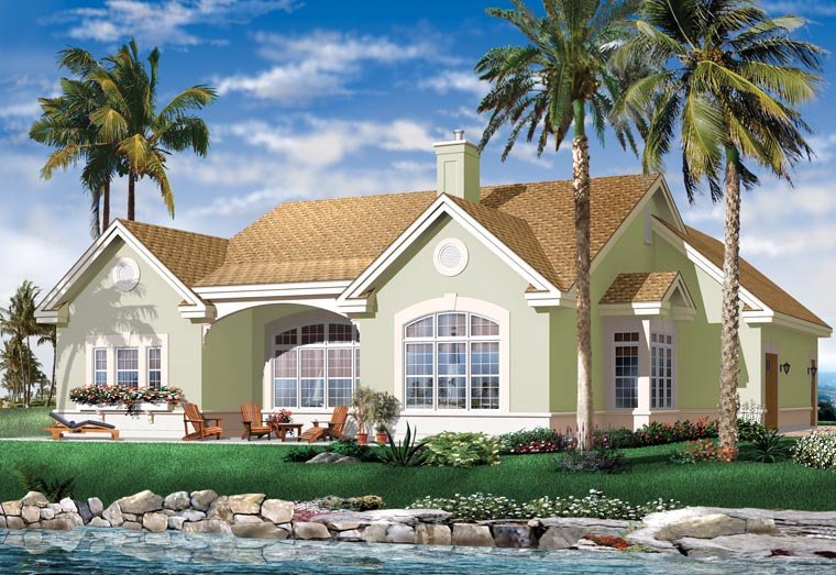 House plan 64986 at for Mediterranean bungalow house designs