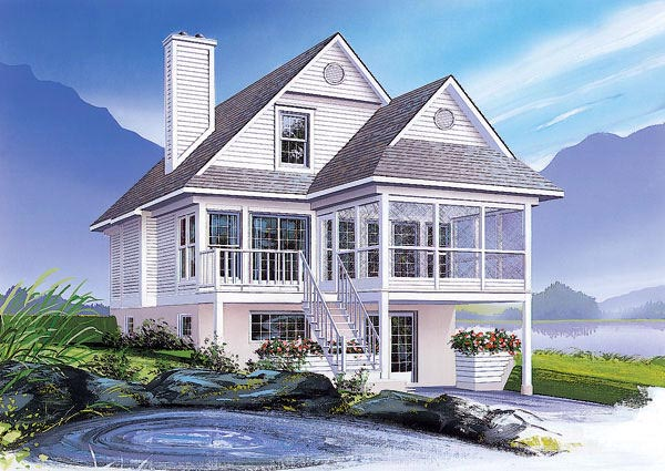 Elevation of Coastal   Country   House Plan 65000
