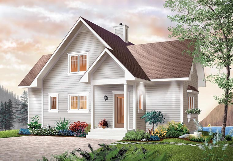 Elevation of Bungalow   Coastal   Country   Craftsman   House Plan 65001