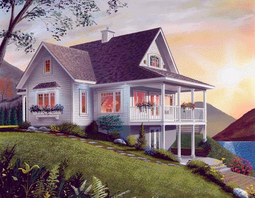 Rear Elevation of Bungalow   Coastal   Country   Craftsman   House Plan 65001