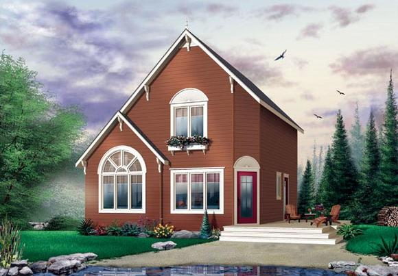 Cabin, Saltbox, Traditional House Plan 65003 with 2 Beds, 2 Baths Elevation