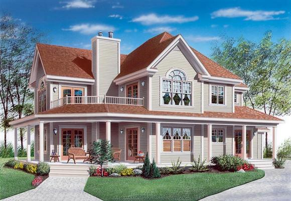 Country, Farmhouse, Traditional House Plan 65004 with 4 Beds, 3 Baths, 2 Car Garage Elevation