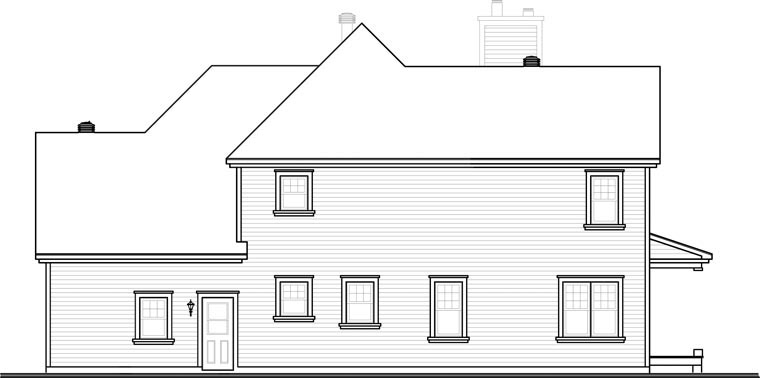 Country, Farmhouse, Traditional House Plan 65004 with 4 Beds, 3 Baths, 2 Car Garage Rear Elevation