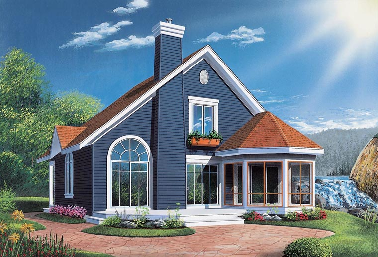 Bungalow, Contemporary, Victorian House Plan 65015 with 3 Beds, 2 Baths Elevation