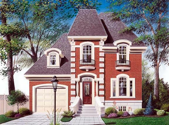 European, Narrow Lot, Victorian House Plan 65068 with 3 Beds, 2 Baths, 1 Car Garage Elevation